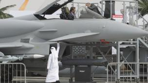 Shares in BAE Systems fall almost 5% on worries about fighter jet sales to the United Arab Emirates and Saudi Arabia.