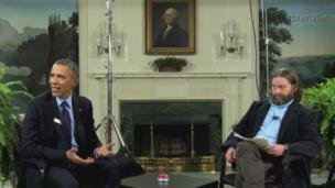 US President Barack Obama is interviewed by comedian Zach Galifianakis for spoof chat show Between Two Ferns, following in the footsteps of Justin Bieber and Bradley Cooper.