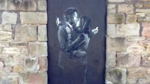"New street art by ""guerrilla artist"" Banksy is removed within hours of appearing in Bristol."