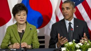 US President Barack Obama arrives in Seoul for a visit that comes amid concern North Korea may be planning a fourth nuclear test.