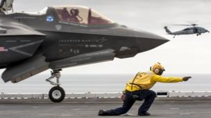 The F-35 combat jet, due to be used on Britain's new aircraft carriers, will not appear at the Royal International Air Tattoo on Friday.