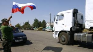 Russia's decision to send more than 100 aid lorries into war-torn eastern Ukraine without permission is condemned by the West.