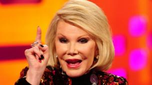"US comedienne Joan Rivers, 81, is ""resting comfortably"" and with her family after reportedly going into cardiac arrest during surgery on her vocal cords."