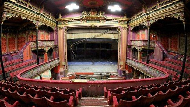 "More than 30 historic theatres in England and Wales are ""at risk"" from decay, closure or irreversible change, according to the Theatres Trust."