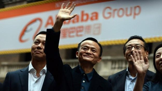 Alibaba's shares closed significantly above their initial price on the New York Stock Exchange on Friday, a sign of the excitement surrounding the Chinese internet giant.