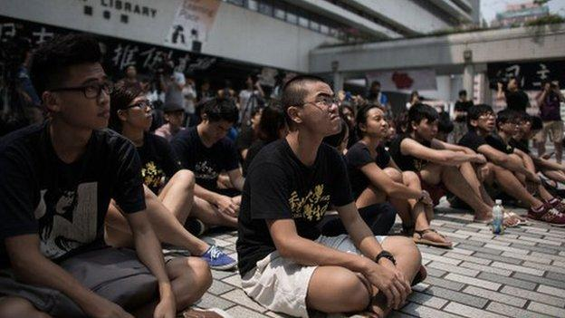 Hong Kong students begin a week-long boycott of classes to protest against China's stance on electoral reform in the territory.