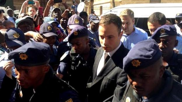 The judge begins reading the sentence for South African athlete Oscar Pistorius after his conviction for killing girlfriend Reeva Steenkamp.