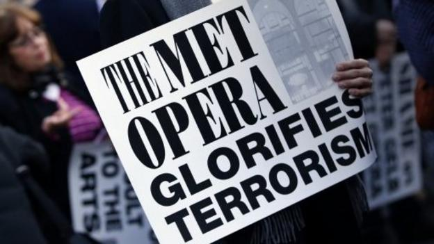 Politicians including former Mayor Rudy Giuliani protest against controversial opera The Death of Klinghoffer.