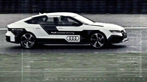 Audi says one of its self-drive test cars topped 149mph (240km/h) at a race track in Germany, beating a human-driven version.