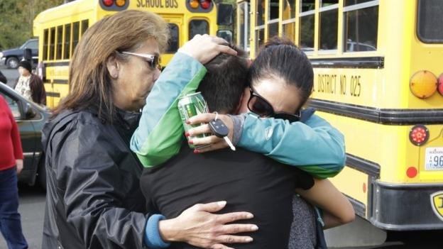 One person was shot dead and four students wounded by a student who also died at a school in the US state of Washington, police say.