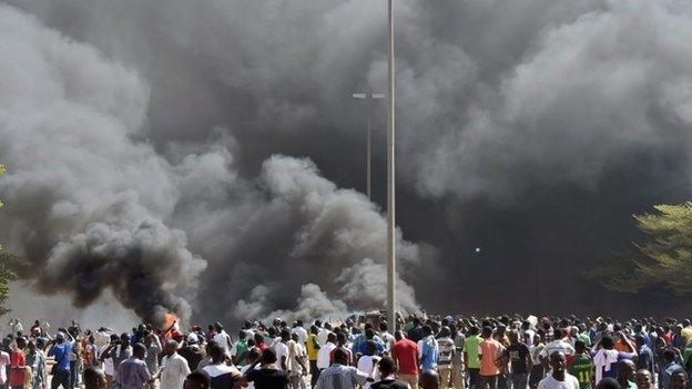 Burkina Faso's president declares a state of emergency amid violent protests at his bid to extend his 27-year rule.