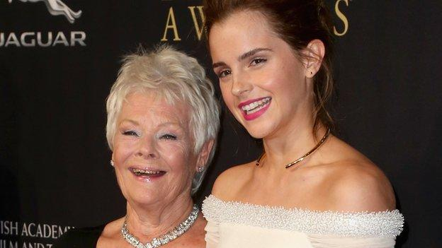 Actors Dame Judi Dench, Emma Watson and Robert Downey Junior are among the stars honoured at the Britannia Awards hosted by Bafta in LA.