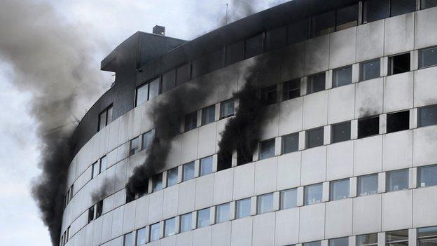 A major fire forces the evacuation of the French national radio building in Paris but there are no immediate reports of casualties.