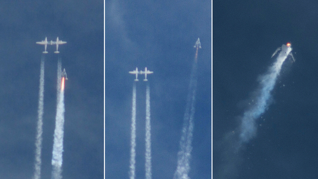 A pilot is killed and another is injured as Virgin Galactic's SpaceShipTwo space tourism craft crashes in California.