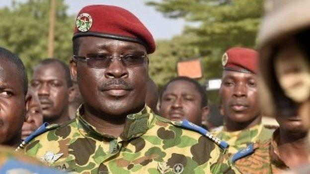 A split emerges within Burkina Faso's armed forces over who is leading the country following the resignation of President Blaise Campaore.