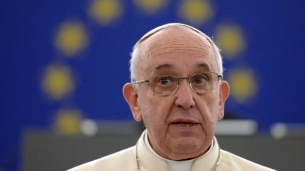 """Pope Francis warns that Europe appears """"somewhat elderly"""" and less and less a protagonist, in a speech to EU politicians in Strasbourg."""