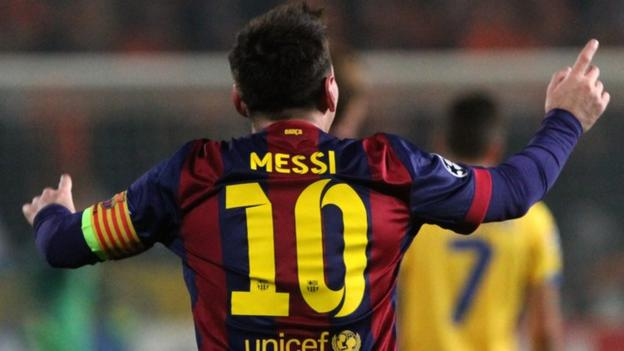 Barcelona's Lionel Messi becomes the Champions League's all-time top scorer by scoring against Apoel Nicosia.