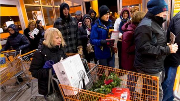 Black Friday is less intense this year in the US after many stores opened earlier on Thursday.