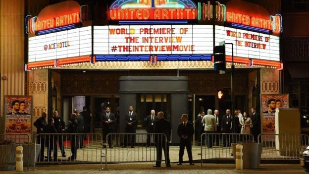 The New York premiere of The Interview, a comedy about the assassination of North Korea's president, is cancelled amid threats from hackers.