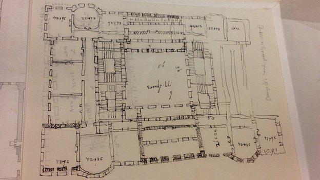 """An eccentric architectural plan thought to have been drawn by King George III during his period of """"madness"""" is discovered at the British Library."""