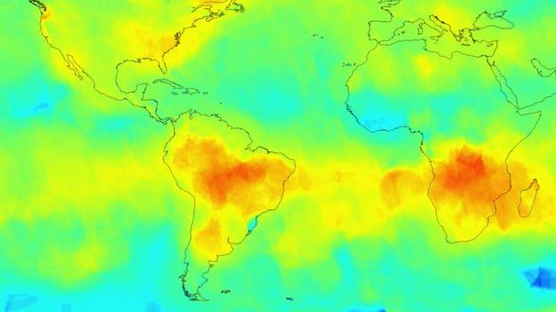 Nasa's Orbiting Carbon Observatory produces its first global maps of carbon dioxide in Earth's atmosphere.