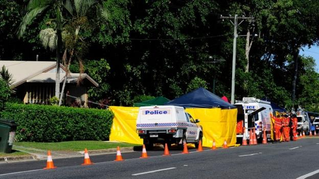 Eight children are found dead at a house in Cairns, Australia, reportedly after a stabbing, while the mother of at least seven of them suffers stabs wounds.