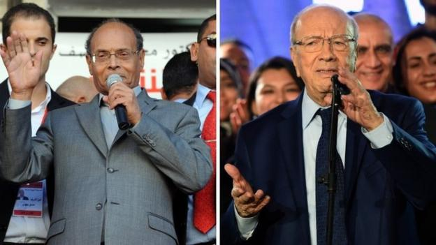 Former Prime Minister Beji Caid Essebsi's camp claims victory in Tunisia's presidential election, but his rival says its too early to call.