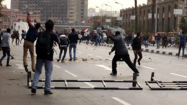 At least 10 people are killed in Cairo during street protests marking the fourth anniversary of the start Egypt's 2011 uprising.