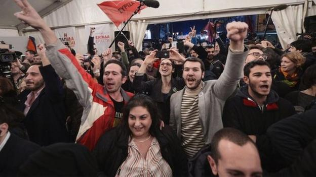 Exit polls suggest a clear victory for the anti-austerity Syriza party in a tightly fought Greek general election.