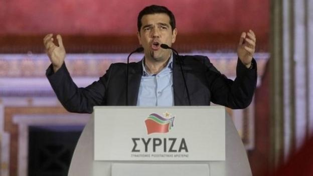 The anti-austerity Syriza party wins the Greek general election promising to renegotiate the country's bailout in a challenge to international creditors.