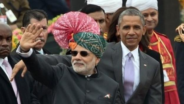 President Barack Obama begins the second day of his visit to India by becoming the first US head of state to attend the Republic Day parade.
