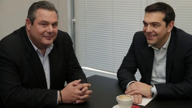 Greece's far-left Syriza party joins hands with the right-wing Greek Independents to form an anti-austerity governing coalition.