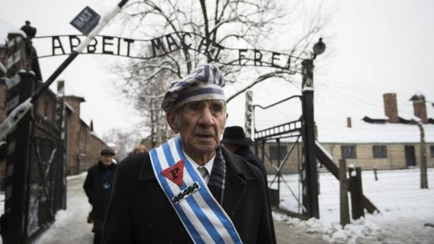 Auschwitz survivors and visiting dignitaries gather at the site of the former Nazi death camp to mark the 70th anniversary of its liberation.