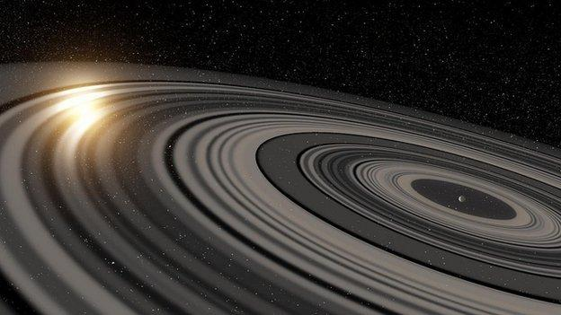 Astronomers say they have discovered a gigantic ring system around a distant planet - the first such structure discovered outside our Solar System.