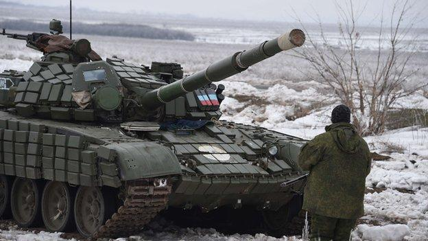 Ukrainian troops and pro-Russian rebels trade heavy tank and artillery fire in and around Debaltseve, a strategic town in eastern Ukraine.