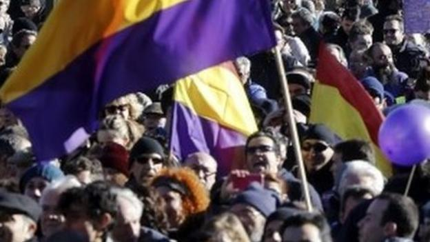 The far-left Spanish party, Podemos, holds a mass rally in the centre of Madrid looking to build on the recent victory of Syriza in Greece.