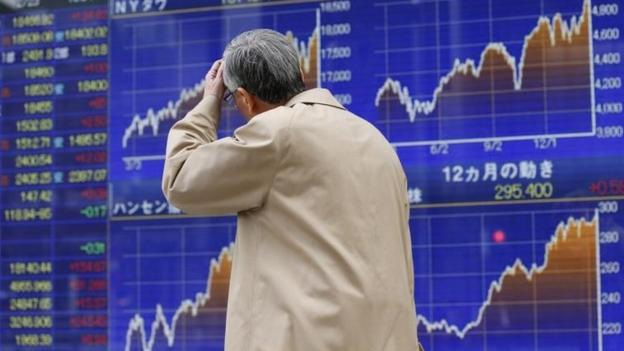 Shares in Asia were mostly down on Tuesday, despite markets in the US where both the Dow Jones and the S&P 500 closed at all-time highs.
