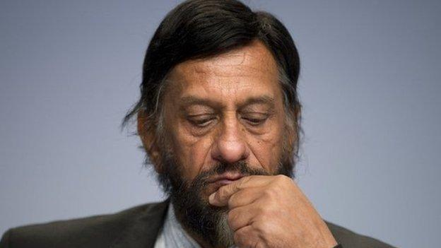 The head of the United Nations climate change panel, Rajendra Pachauri, steps down amid sexual harassment allegations he denies.