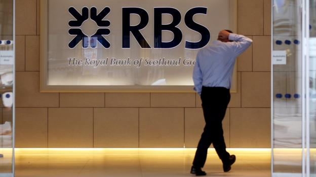 UK state-owned bank RBS reports a £3.5bn loss for 2014, down from £9bn loss the previous year.