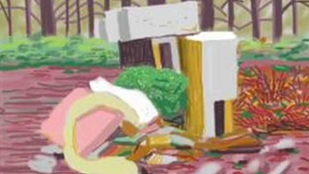 David Hockney releases artwork showing the landscape that inspired him after it was blighted by fly-tipping.