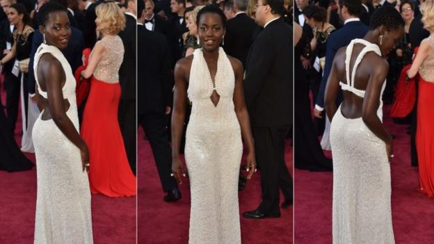 "A dress ""resembling"" the $150,000 (£97,000) outfit worn by Lupita Nyong'o at this year's Oscars has been found, Los Angeles police say."