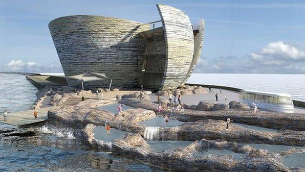 Plans to generate electricity from the world's first series of tidal lagoons are unveiled in the UK, with sites proposed in Wales, Somerset and Cumbria.
