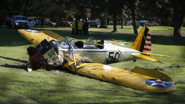 "US actor Harrison Ford is in a ""fair to moderate condition"" after crashing a small plane on to a golf course in Los Angeles."