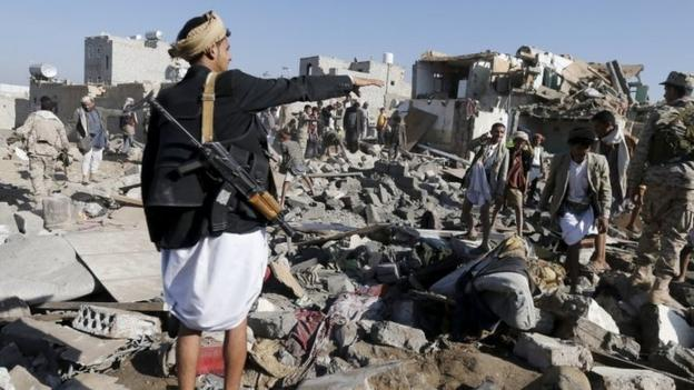 "A Saudi-led coalition launches air strikes against Houthi rebels in Yemen, saying it is ""defending the legitimate government"" of President Hadi."
