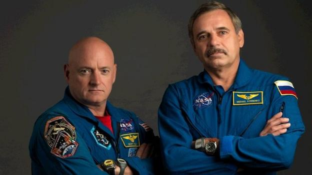 US astronaut Scott Kelly and Russian cosmonaut Mikhail Kornienko arrive for a 12-month tour of duty on the International Space Station.