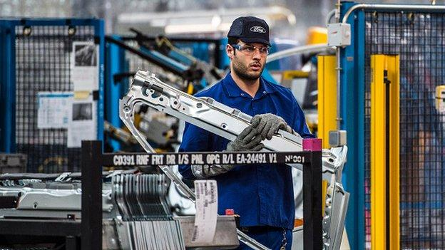 Manufacturing and jobs are picking up in the eurozone thanks to the weaker euro, according to a closely-watched survey.
