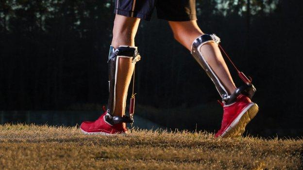 "Engineers create unpowered exoskeleton ""boots"" that use a spring and a ratchet to make human walking 7% more efficient."