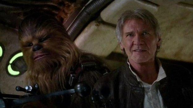 Star Wars fans are given a first glimpse of Han Solo in the new trailer for The Force Awakens - the first film in the new series of the sci-fi franchise.