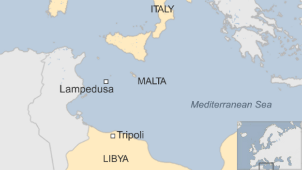 A major rescue operation is under way after a boat carrying up to 700 migrants capsized in the Mediterranean Sea, the Italian coastguard has told the BBC.