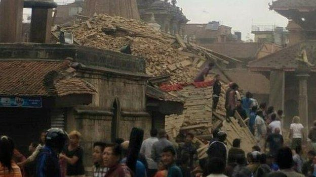 A powerful earthquake strikes west of the Nepali capital Kathmandu, with reports of several deaths and extensive damage to buildings.